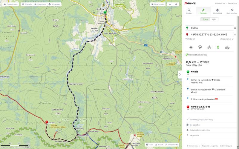 Mapa běžecké trasy z Kvilda – pramen Vltavy - Černá hora a zpět.