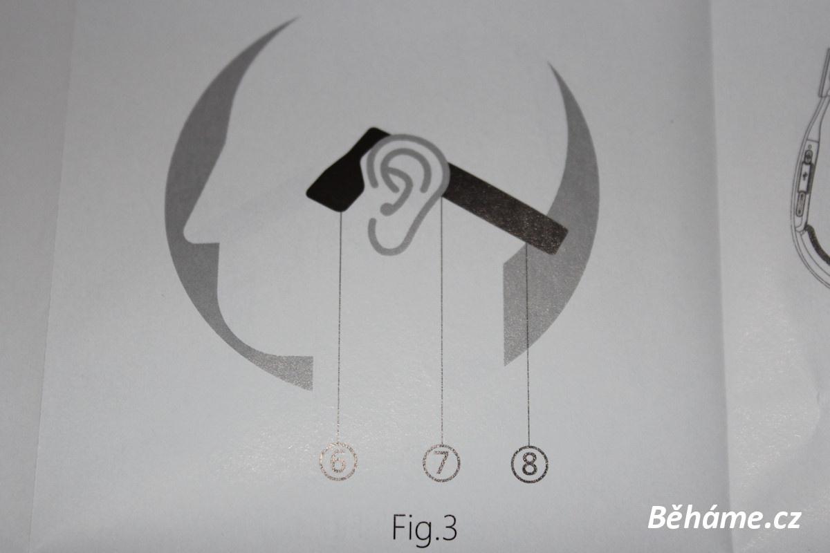 Bezdrátová sluchátka na běhání AfterShokz Bluez 2 - umístění sluchátek na spánkové kosti