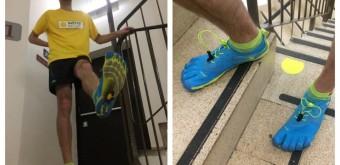 Ondra při tréninku v hotelu Corinthia při běhu do schodů