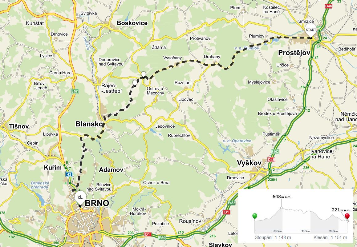 Cyklovýlet Prostějov - Brno (Mapa)