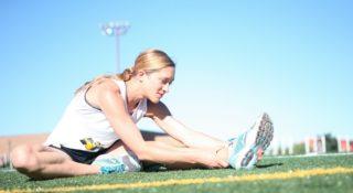běžkyně – strečink, rozcvička