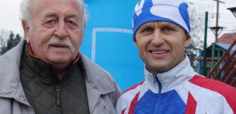 Dvojnásobný olympionik vcestnej cyklistike Milan Dvorščík (vpravo) alegenda atletickej chôdze Ľudovít Žambokréthy.