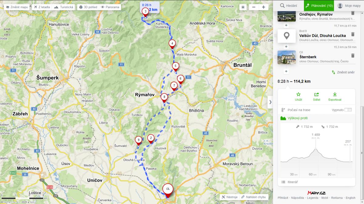 cyklo trasa Šternberk - Praděd., zdroj Mapy.cz