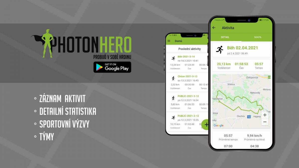 Rozhovor: Aplikace PhotonHero od českých tvůrců cílí na všechny hobby sportovce, nabízí podrobné statistiky i sportovní výzvy
